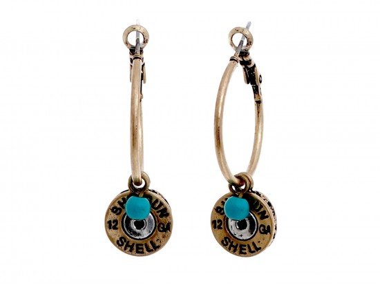 Gold Shotgun Bullet Back  Hoop Post Earrings