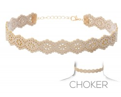 Beige Flower Pattern Cut Leather Choker Necklace