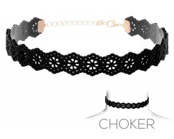 Black Flower Pattern Cut Leather Choker Necklace
