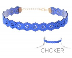 Blue Flower Pattern Cut Leather Choker Necklace