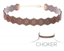 Brown Flower Pattern Cut Leather Choker Necklace