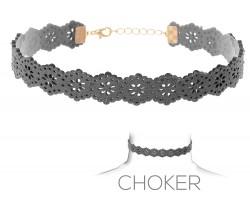 Gray Flower Pattern Cut Leather Choker Necklace