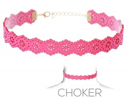 Hot Pink Flower Pattern Cut Leather Choker Necklace
