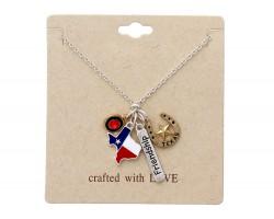Silver Texas Map Horseshoe Necklace