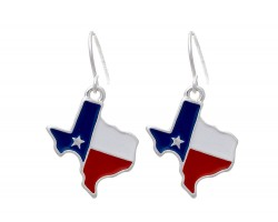 Texas Flag Map Hook Earrings