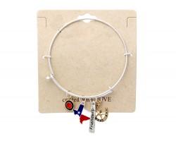 Silver Texas Map Horseshoe Wire Bracelet