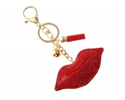 Red Lips Crystal Tassel Puffy Keychain