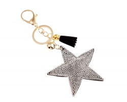 Clear Star Crystal Tassel Puffy Keychain