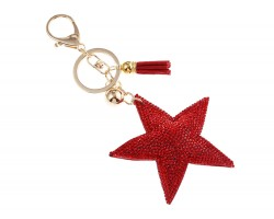 Red Star Crystal Tassel Puffy Keychain