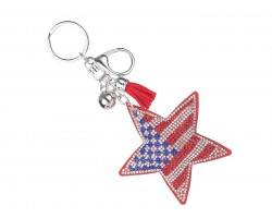 USA Flag Star Crystal Puffy Key Chain