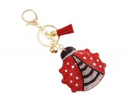 Red Ladybug Crystal Tassel Key Chain
