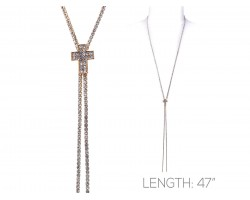 Gold Clear Crystal Rope Cross Necklace