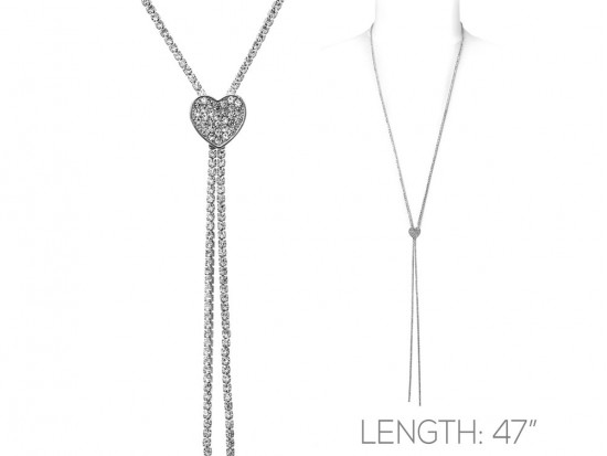 Silver Clear Crystal Rope Heart Necklace