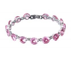 Pink Ice CZ Crystal Cabochon Silver Link Bracelet