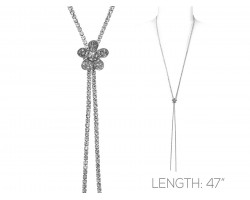 Silver Clear Crystal Rope Flower Necklace