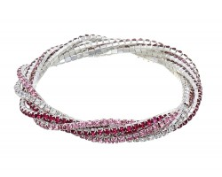 Pink Crystal Silver Twist Stretch Bracelet