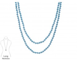 Aqua Rondell Long Crystal Necklace
