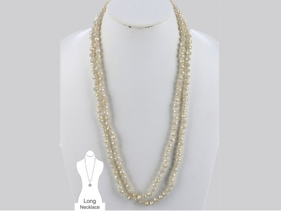 Beige Rondell Long Crystal Necklace