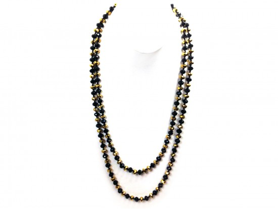 Black Gold Rondell Long Crystal Necklace