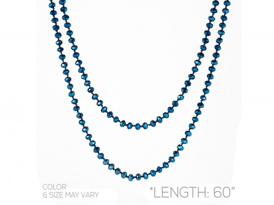 Blue Metalic Rondell Long Crystal Necklace