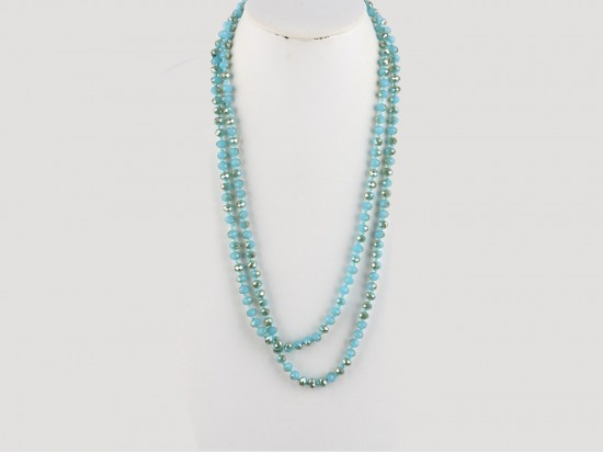 "Blues Rondell 60"" Long Crystal Necklace"