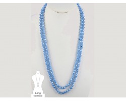 Blue Rondell Long Crystal Necklace
