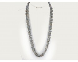Dark Gray Rondell Long Crystal Necklace