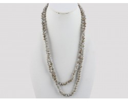 "Light Grays Rondell 60"" Long Crystal Necklace"