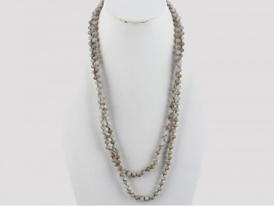 """Light Grays Rondell 60"""" Long Crystal Necklace"""