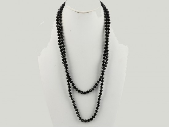 Jet Black Rondell Long Crystal Necklace