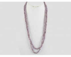 "Light Purple Rondell 60"" Long Crystal Necklace"