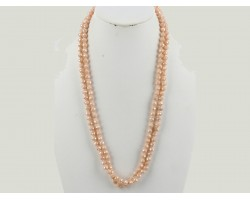 Light Peach Rondell Long Crystal Necklace