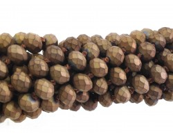 Bronze Matte Rondell Long Crystal Necklace