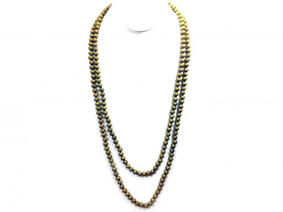"Gold Matte Rondell 60"" Long Crystal Necklace"