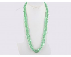Green Mint Matte Rondell Long Crystal Necklace