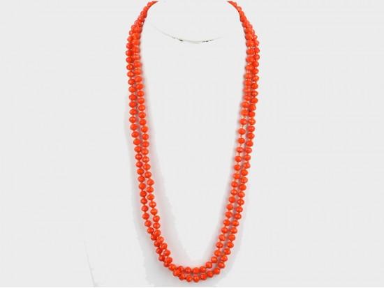 Orange Rondell Long Crystal Necklace