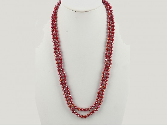 Red Rondell Long Crystal Necklace