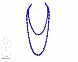 Sapphire Blue Rondell Long Crystal Necklace
