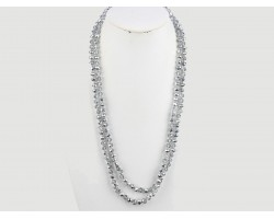 Silver Rondell Long Crystal Necklace