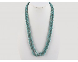 Turquoise Matte Rondell Long Crystal Necklace
