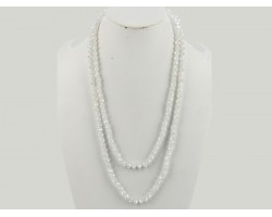 White Opal Matte Rondell Long Crystal Necklace