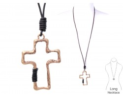 Gold Cross Leather Wrap Necklace