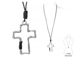 Silver Cross Leather Wrap Necklace
