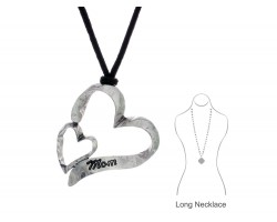 Silver Heart Mom Leather Necklace