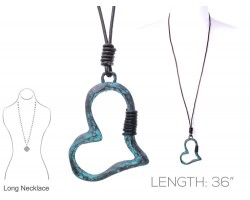 Patina Heart Leather Necklace