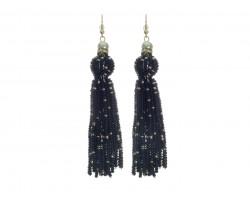 Black Seed Bead Tassel Hook Earrings