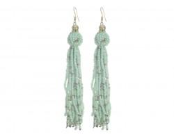 Mint Green Seed Bead Tassel Hook Earrings