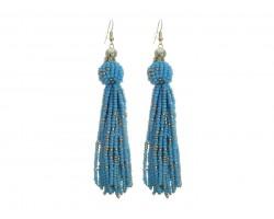 Turquoise Seed Bead Tassel Hook Earrings