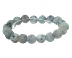 Light Blue Gray Natural 8mm Stone Bead Stretch Bracelet