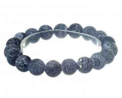Black Natural 8mm Stone Bead Stretch Bracelet
